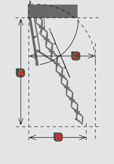 Схема лестницы на чердак Roto Mini